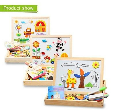 Magnetic Puzzle Games Wooden Drawing Writing Learning Board Toys Kids Children