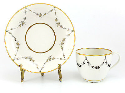 Continental Porcelain Cup & Saucer 19th Century Hand Painted Gilt & Grey Foliate