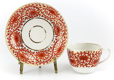 Continental Porcelain Cup & Saucer, Early 19th Century Hand Painted Gilt & Red