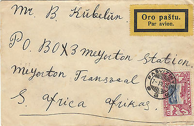 Stamps Lithuania on cover sent airmail to South Africa Cinderella label at back