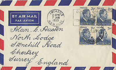 Stamps Australia 1955 usage 7&1/2d KGV1 block 4 Olympic Games Newcastle postmark