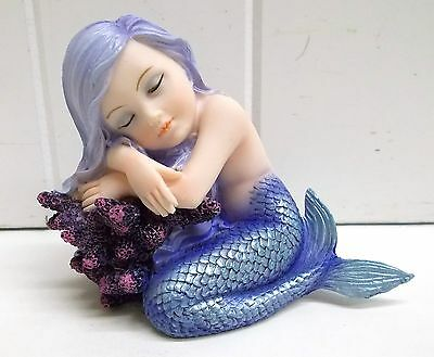 G91879 Purple Blue Mermaid Baby On Curled With Coral Statue Figurine Gsc Fantasy