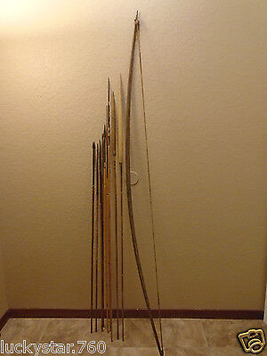 New Guinea  Indian Tribe  Hunting Set Bow And 9 Arrows
