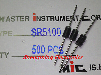 50pcs SR5100 100V 5A DO-15 schottky diode