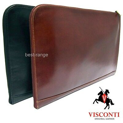 Visconti Leather Documents Holder Meeting Folio Bag Zipped Brown or Black New