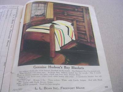 L L Bean 1955 Spring Catalog with 104 Pages with Genuine Hudson Bay Blankets