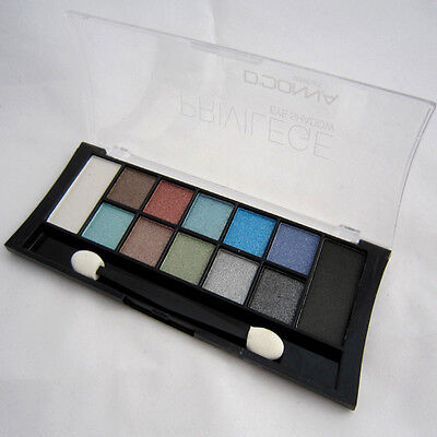 PALETA SOMBRA DE OJOS set 12 colores brillo BROCHA DE MAQUILLAJE - Eye shadow