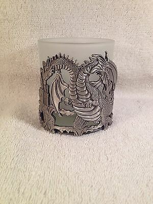 Pewter Two Headed Dragon Castle Guard With Glass Cup Candle Holder New