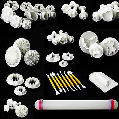 46pcs Fondant Sugarcraft Cake Decorating Plunger Cutters  Mold Icing Mould Tools