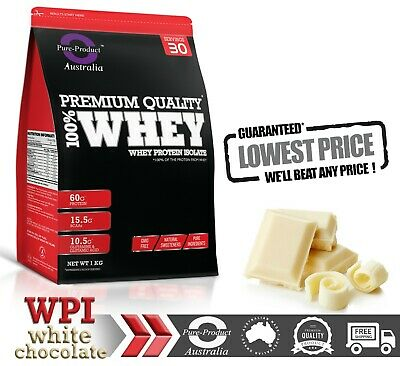 1Kg Whey Protein Isolate Powder 100%  Wpi   Grass-Fed White Chocolate