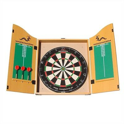 New Woodworm Bristle Dart Board Set With Cabinet Darts