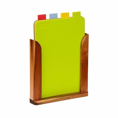 Coded Chopping Boards Board Anti-Bacterial Coloured Wooden Stand Kitchen 4 Set