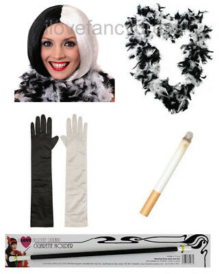 Dlx Cruella Kit Wig Gloves Feather Boa Fake Cigarette & Holder Fancy Dress Set