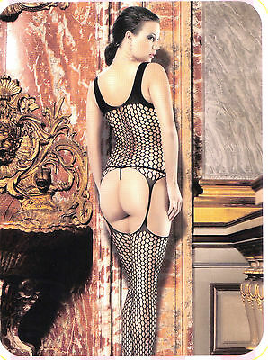 Bodystocking Catsuit Cavallo Aperto Hot Tutine Rete Intimo Sexy Body Donna Nero