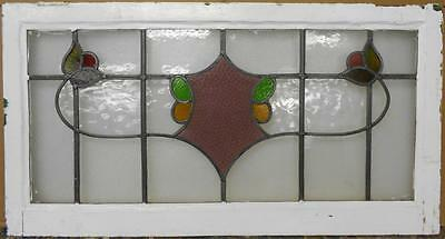 """OLD ENGLISH LEADED STAINED GLASS WINDOW TRANSOM Abstract Floral 36.25"""" x 19.25"""""""