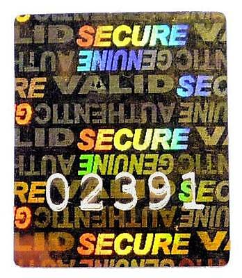 """120x LARGE GOLD Warranty Hologram Stickers, NUMBERED, 22mm x 27mm Labels, """"VOID"""""""