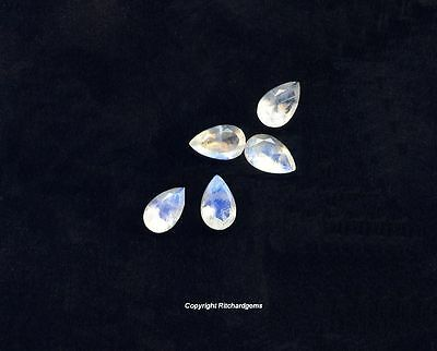 Semi Precious 8x5 mm Faceted Pear Cut Rainbow moonstone for One