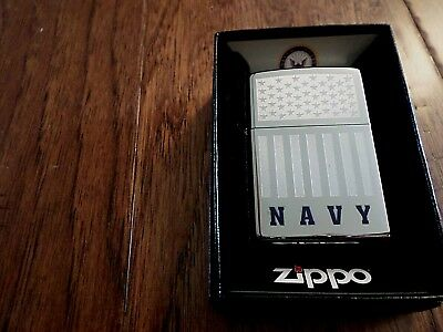 U.s Military Navy Chrome Etched U.s Flag Lighter Zippo Official Licensed