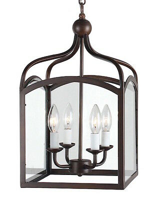 Lantern Chandelier Antique Bronze Glass 4-Light Hanging Foyer Cage Home A Decor