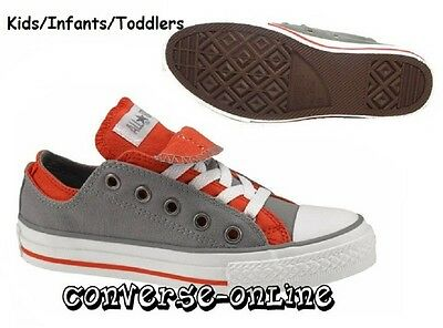 Boy's Girls CONVERSE All Star GREY ORANGE DOUBLE Low Trainers Shoes UK SIZE 10