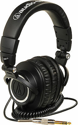 ATH-M50 HEADPHONES with Coiled Cable GENUINE AUDIO TECHNICA ATHM50