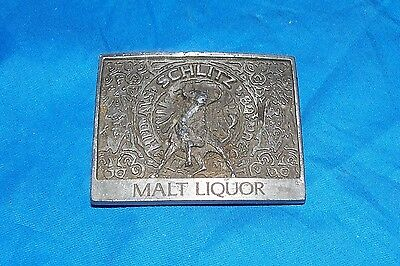 Old Schlitz Malt Liquor Belt Buckle Silver Pewter Color Mens Beer Joseph Brewing