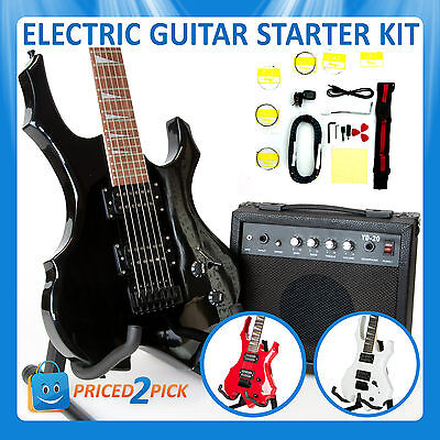 Electric Guitar and Amp Amplifier with Bag Strap Tuner Set Kit Pack