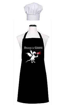 DINNER IS COMING APRON AND CHEFS HAT Parody Game of thrones BBQ Retro cooking
