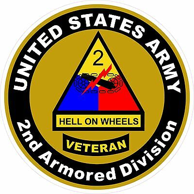 UNITED STATES Army Veteran 2nd Armored Division Decal Window Bumper Sticker