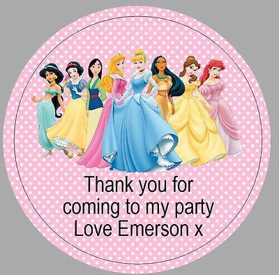24 x 40mm Personalised Round Stickers Disney Princess Pink Labels Party