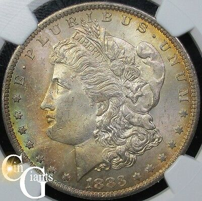 1883-O Morgan Silver Dollar NGC MS64 Gorgeous Rainbow Toning New Orleans Coin $1