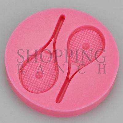 Sporty Themed Tennis Racket Bat Silicone Mould Cupcake Topper Fondant Sugarcraft