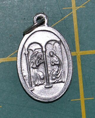 ANGEL GABRIEL / ANNUNCIATION Medal Pendant, SILVER TONE, 22mm X 15mm, MADE IN IT