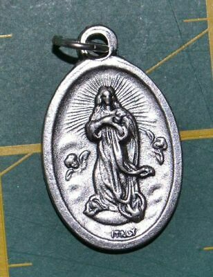 ASSUMPTION Medal Pendant, SILVER TONE, 22mm X 15mm, MADE IN ITALY