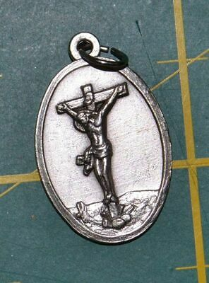 CRUCIFIX CROSS Medal Pendant, SILVER TONE, 22mm X 15mm, MADE IN ITALY