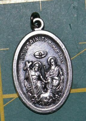 HOLY TRINITY Medal Pendant, SILVER TONE, 22mm X 15mm, MADE IN ITALY