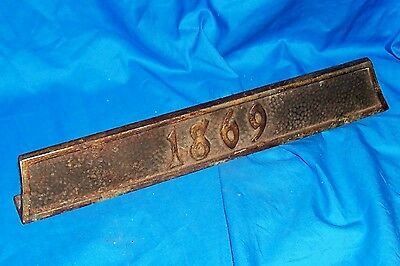 1869 Address Number Plaque Plate Year Sign Old Vintage Antique Door Doorway Post