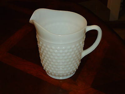 Vintage Antique Old Nice White 8 inch Hobnail Milk Glass Heavy Pitcher