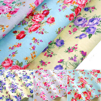 """Alexandra - Floral Fabric 100% Cotton Rose Material Vintage Craft Quilting 45"""""""