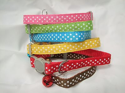 Cat Collar Kitten break free snap apart safety release polka dots spotted clip