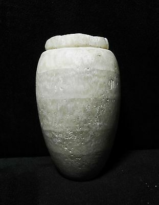 """ZURQIEH - ANCIENT EGYPTIAN BANDED ALABASTER VESSEL,  (1069 BC to 747 BC), 4 1/4"""""""