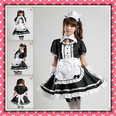 ★ UNIFORME MAID cameriera COSPLAY bianco x nero dress set divisa kawaii lolita