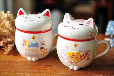 Ceramic Fortune Cat Lucky Mug Colors and Patterns Random