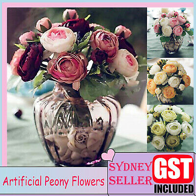 New 1x Artificial Rose Flowers Silk Bouquet Bridal Home Wedding Decoration DIY