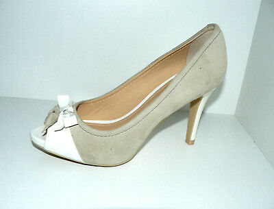 GEOX PEEPTOES PUMPS High Heels Damen Schuhe 36,5 UK 3,5 beige Lack Stieletto TOP