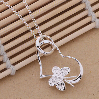 925 New Silver beautiful cute women HEART flower Necklace charm jewelry P090