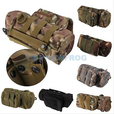 Outdoor Molle Zipper Kettle Water Bottle Utility Pouch Bag w/ Mess Side Pouch