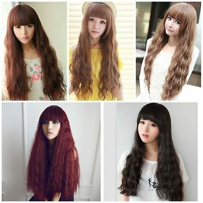 5 Couleurs Longue bouclés Cheveux Perruque Cosplay Corn Wavy Curly Full Wig 70cm
