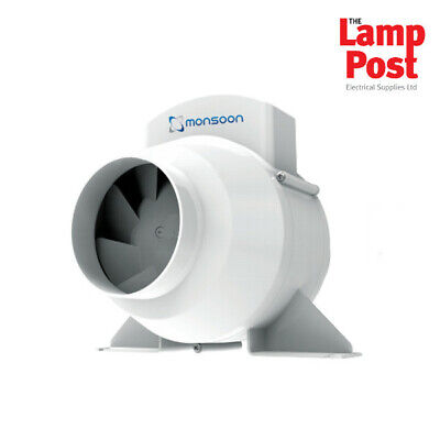 """Monsoon UMD100T 4"""" In Line Mixed Flow Bathroom Extractor Fan with Timer"""