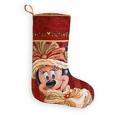 disney christmas holiday stocking victorian minnie mouse face new with tag